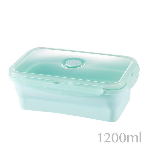 【米森 vilson】矽膠折疊保鮮盒-碧綠1200ml