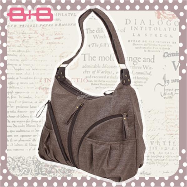 HAPPY B+B 休閒純靜媽媽包/尿布墊保溫袋-咖 E-B-95174-B