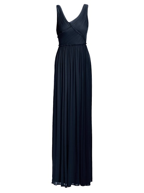 Pleated Sleeveless Jersey Gown