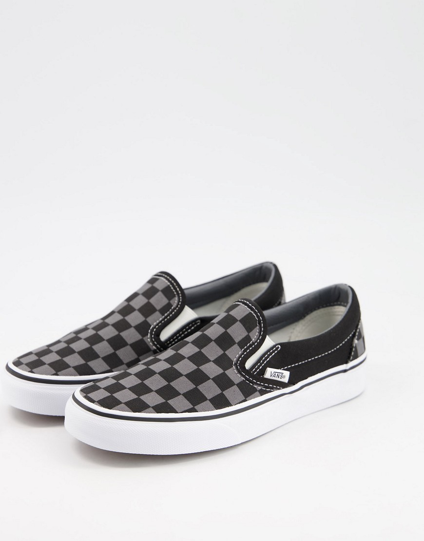 Vans Classic Slip-On checkerboard trainers in black/grey