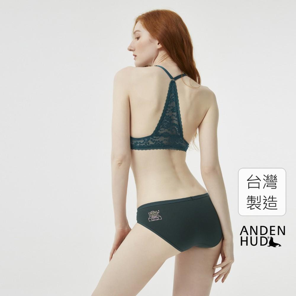 【Anden Hud】粉蝶梅牆.低腰三角內褲(墨綠-Lucky7) 台灣製