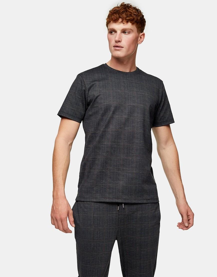 Topman check t-shirt in black