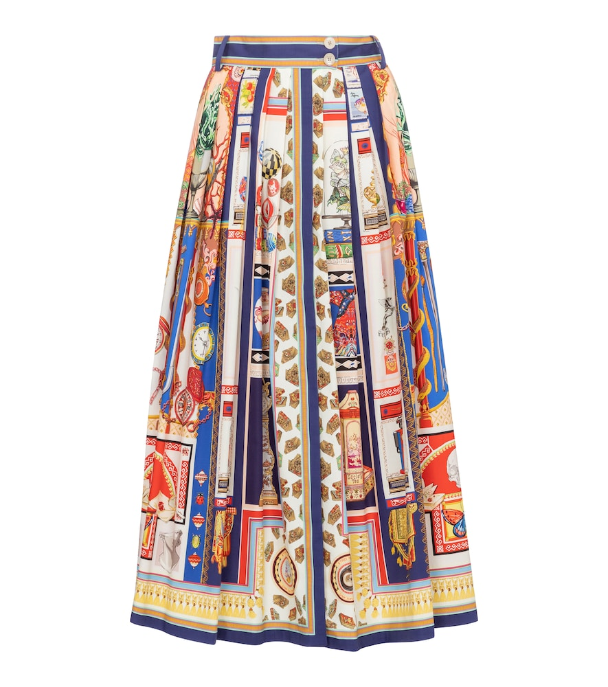 Printed high-rise stretch-cotton maxi skirt
