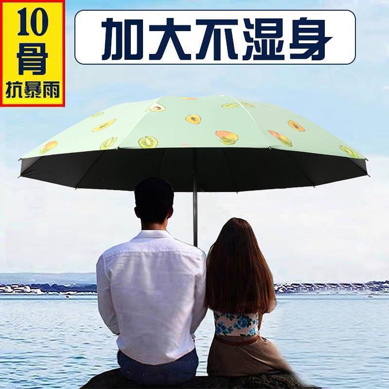雨傘女 晴雨兩用大號黑膠太陽傘 防曬防紫外線折疊雙人超大遮陽傘