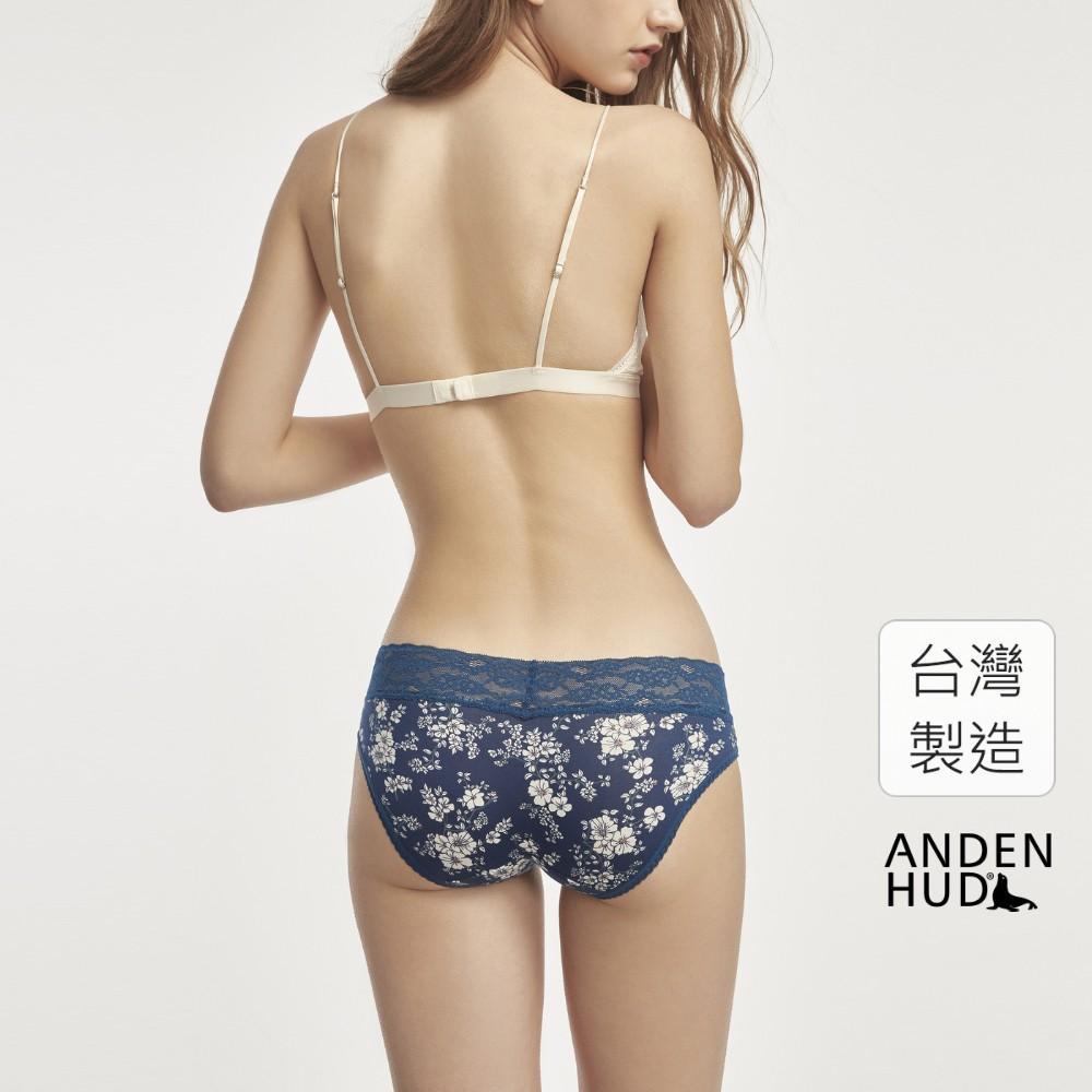 【Anden Hud】荼縻花事.V蕾絲低腰三角內褲(深藍-小白花) 台灣製