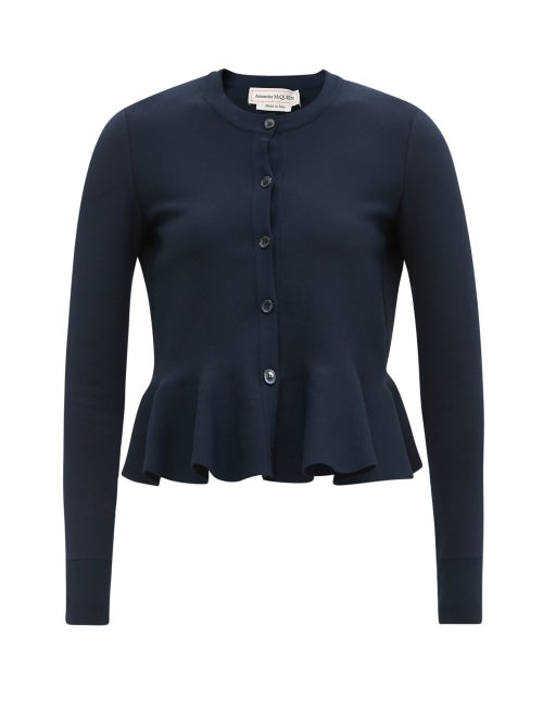 Alexander Mcqueen - Peplum-hem Stretch-knit Cardigan - Womens - Navy