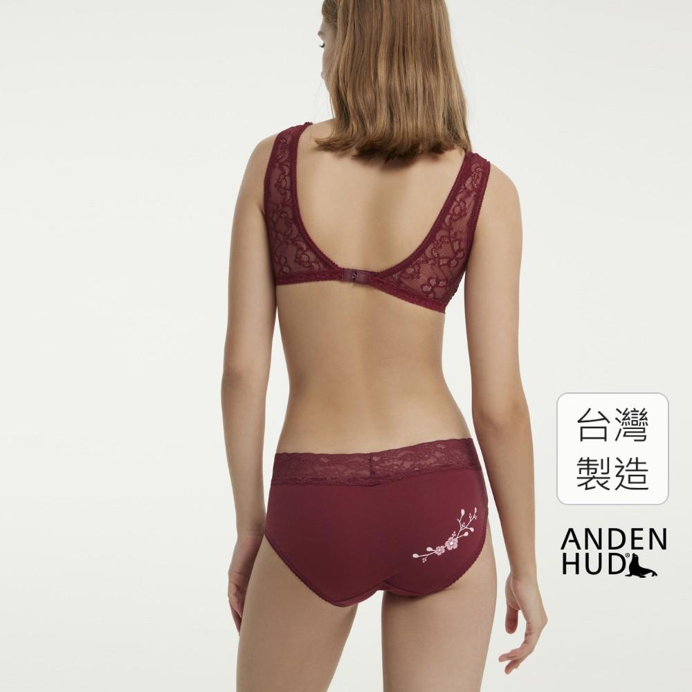【Anden Hud】花事.窄版V蕾絲高腰三角內褲(酒紅-桃花) 台灣製