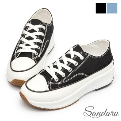 山打努SANDARU-厚底鞋 簡約經典增高鬆糕底帆布鞋-黑