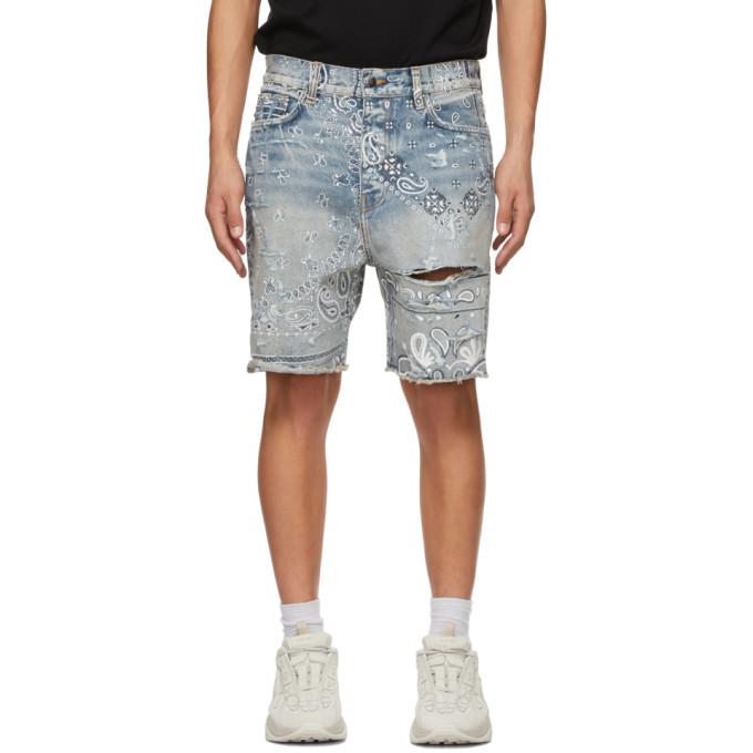AMIRI 蓝色 Bandana Print 牛仔短裤