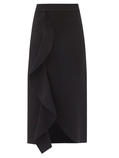 Alexander Mcqueen - Ruffled Asymmetric Knitted Midi Skirt - Womens - Black