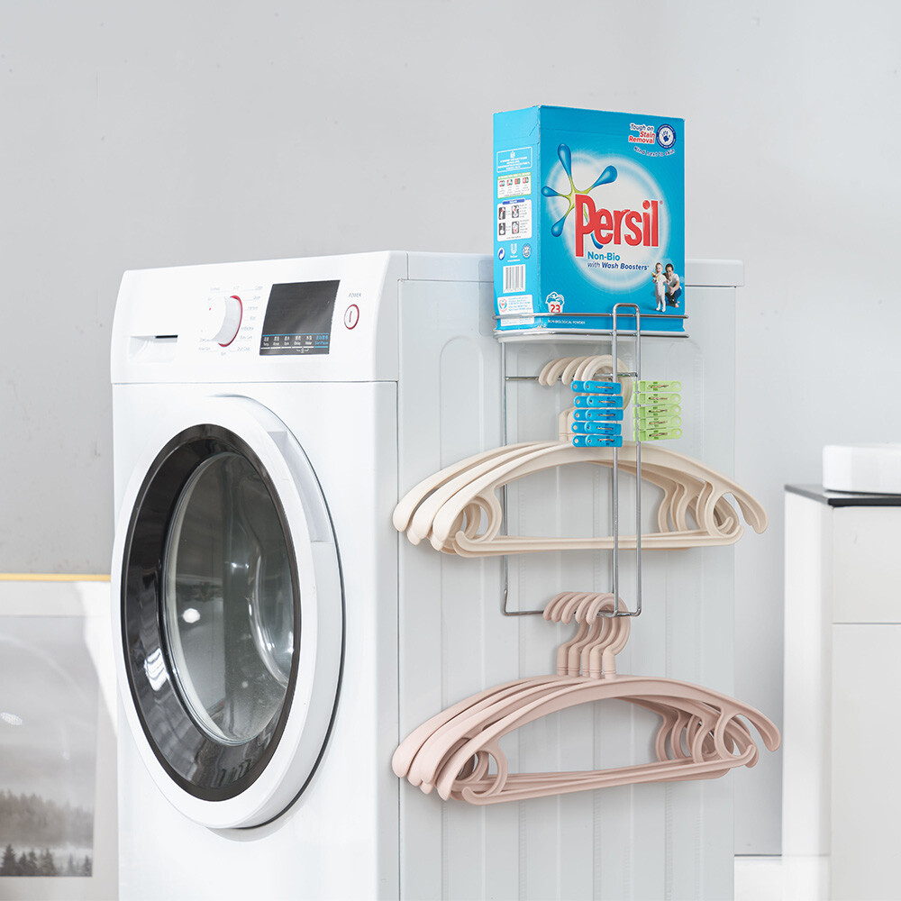 樂嫚妮 洗衣機壁掛式衣架衣夾收納架/洗衣用品-台灣製