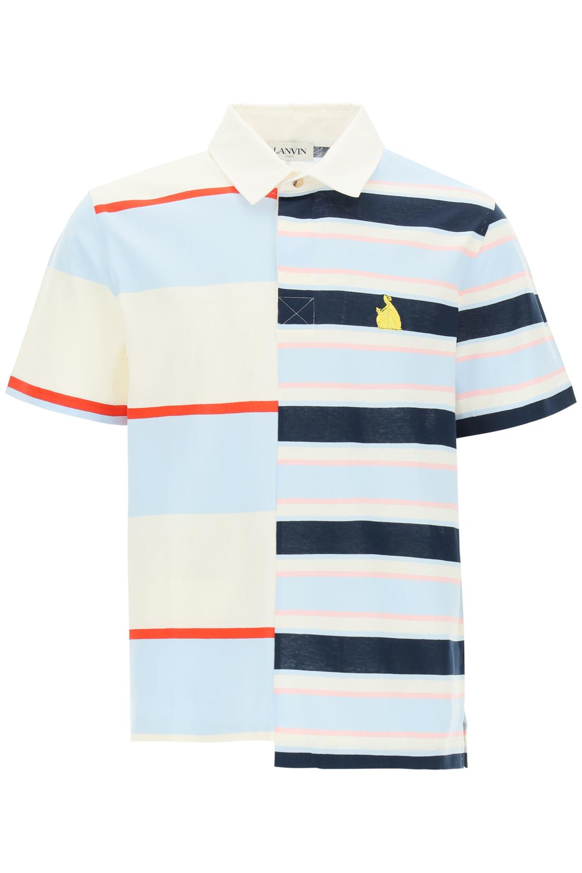 LANVIN STRIPED PATCHWORK POLO SHIRT L White, Blue, Pink Cotton