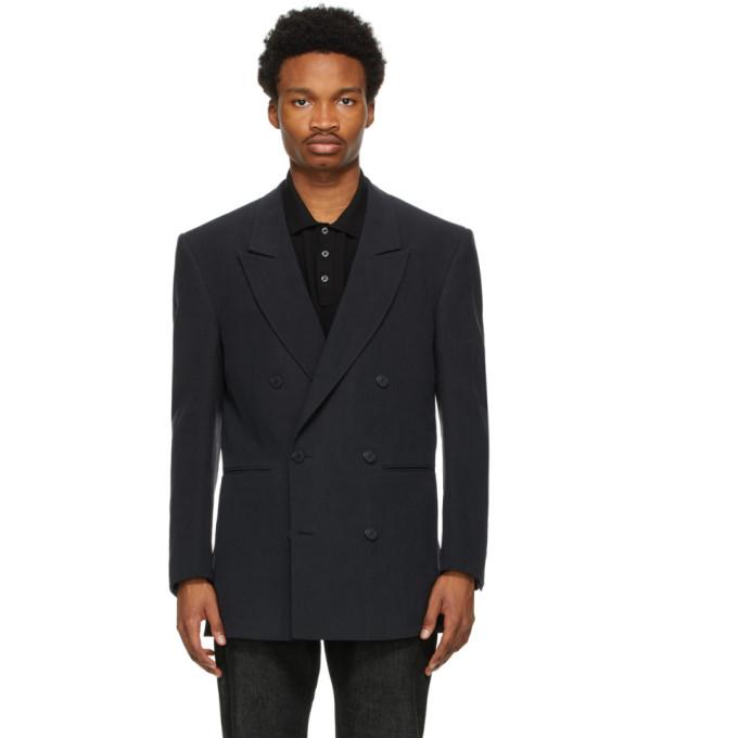 Ermenegildo Zegna Couture 黑色大廓形亚麻双排扣西装外套