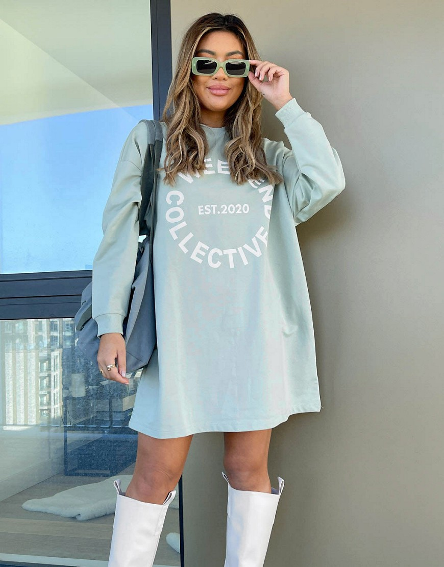 ASOS Weekend Collective oversized long sleeve t-shirt dress with logo in sage-Green
