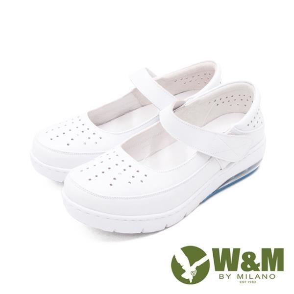 W&M(女)氣墊舒適魔鬼氈款護士鞋 娃娃鞋女鞋-白