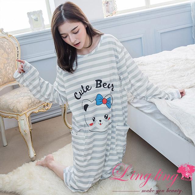 lingling A4350-02全尺碼-可愛俏皮橫條紋貓咪雙口袋英文長袖連身睡衣(俏皮灰)