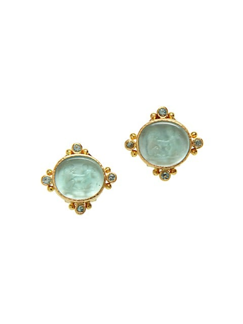 Venetian Glass Intaglio 19K Yellow Gold & Aquamarine Cherub With Lion Stud Earrings