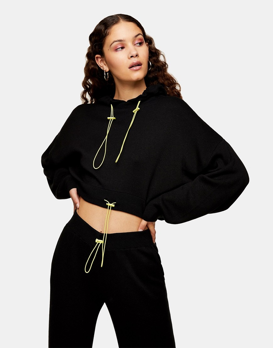 Topshop knitted hoodie co-ord in black