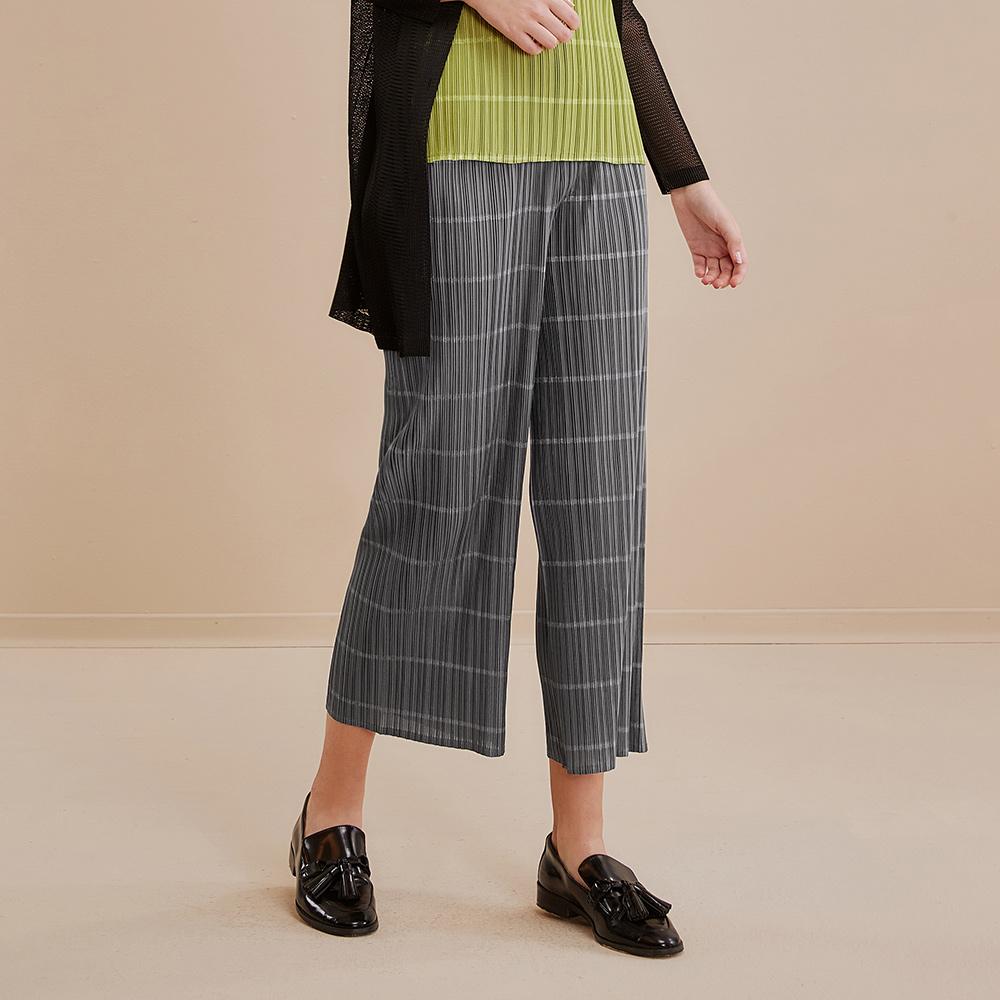 OUWEY歐薇 時尚百搭彈性壓摺褲(藍/灰)I89635