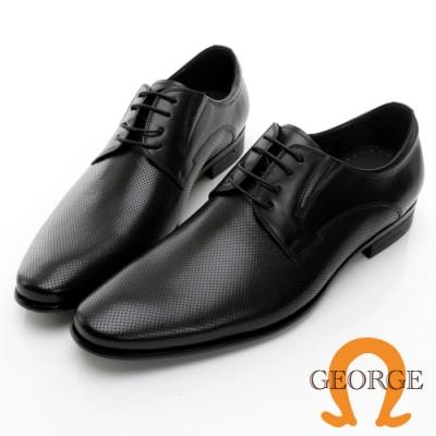 GEORGE 喬治皮鞋 核心氣墊 真皮側切口冲孔真皮紳士鞋 -黑 115006BW