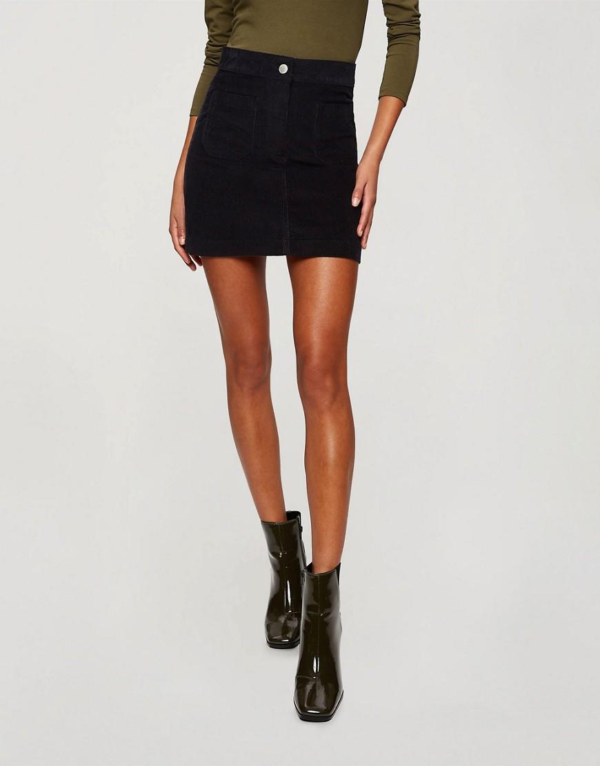 Miss Selfridge cord skirt in black