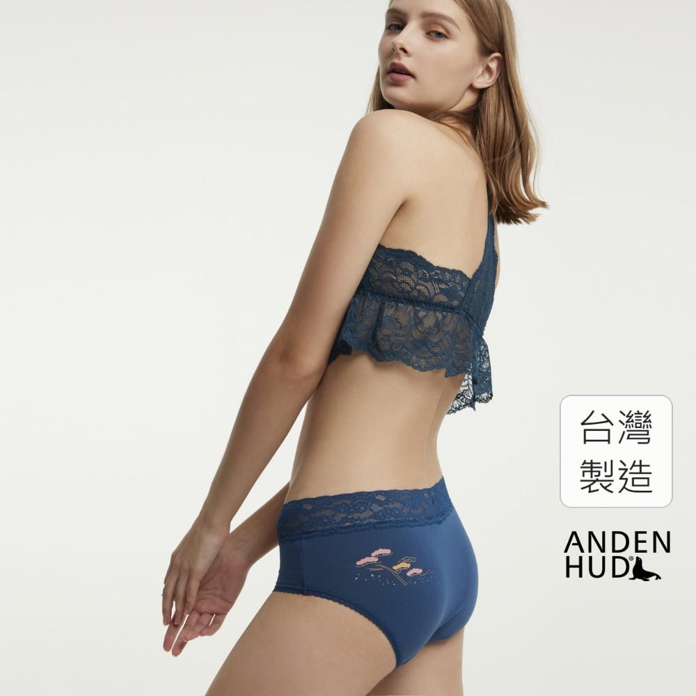 【Anden Hud】花事.窄版V蕾絲高腰三角內褲(青藍-富貴松) 台灣製