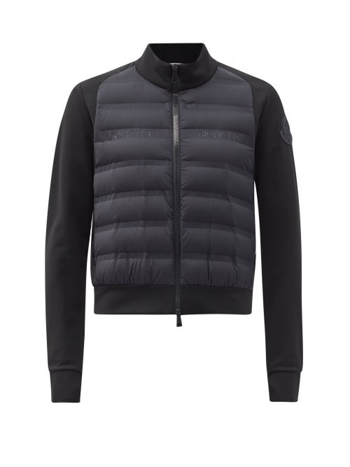 Moncler - Zipped Quilted-panel Jersey Jacket - Womens - Black