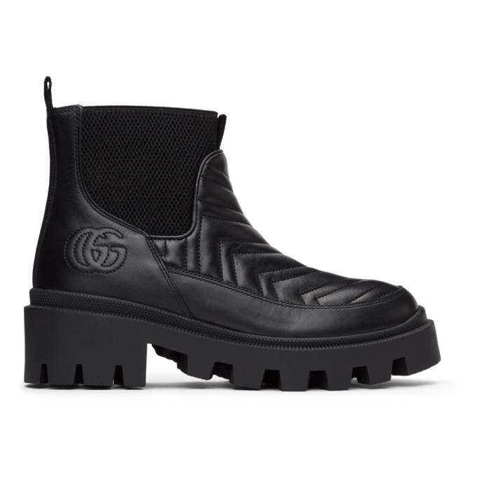Gucci 黑色 Matelasse 切尔西靴