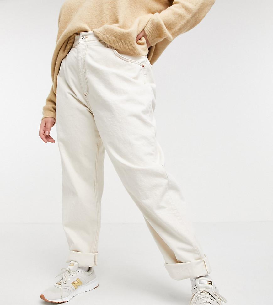 ASOS DESIGN Curve high rise 'slouchy' mom jean in ecru-White