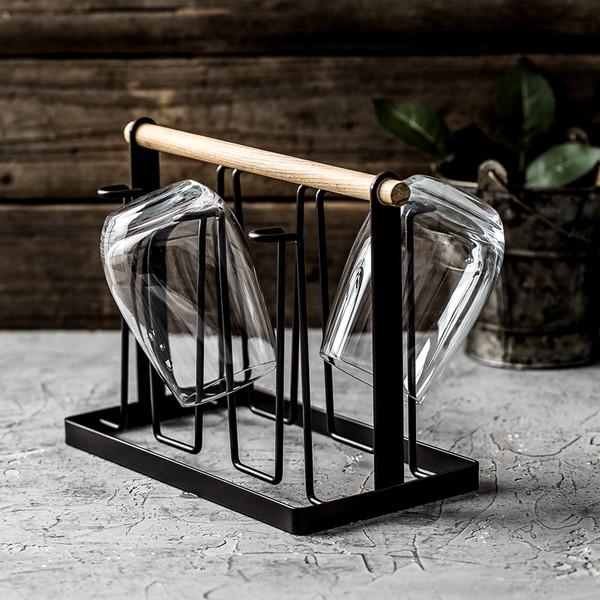 日式創意鐵藝杯架手提木柄掛杯架瀝水架酒杯架茶杯架廚房置物架子