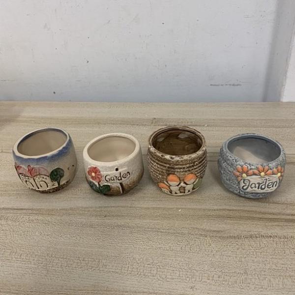 簡約多肉植物多肉花盆陶瓷植物盆栽創意桌面小盆(4個入/8*7/777-9789)