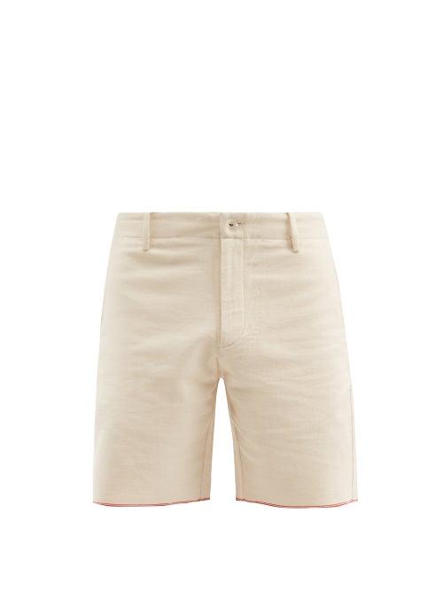 Harago - Selvedge-denim Straight-leg Shorts - Mens - Cream