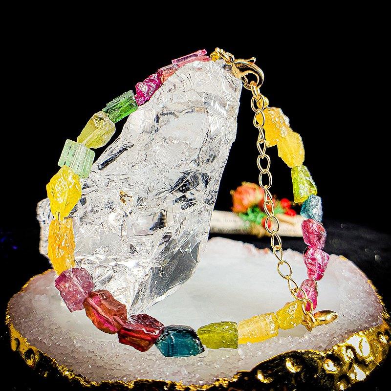 無盡迴圈【彩虹軟糖】設計款水晶手鍊 糖果碧璽