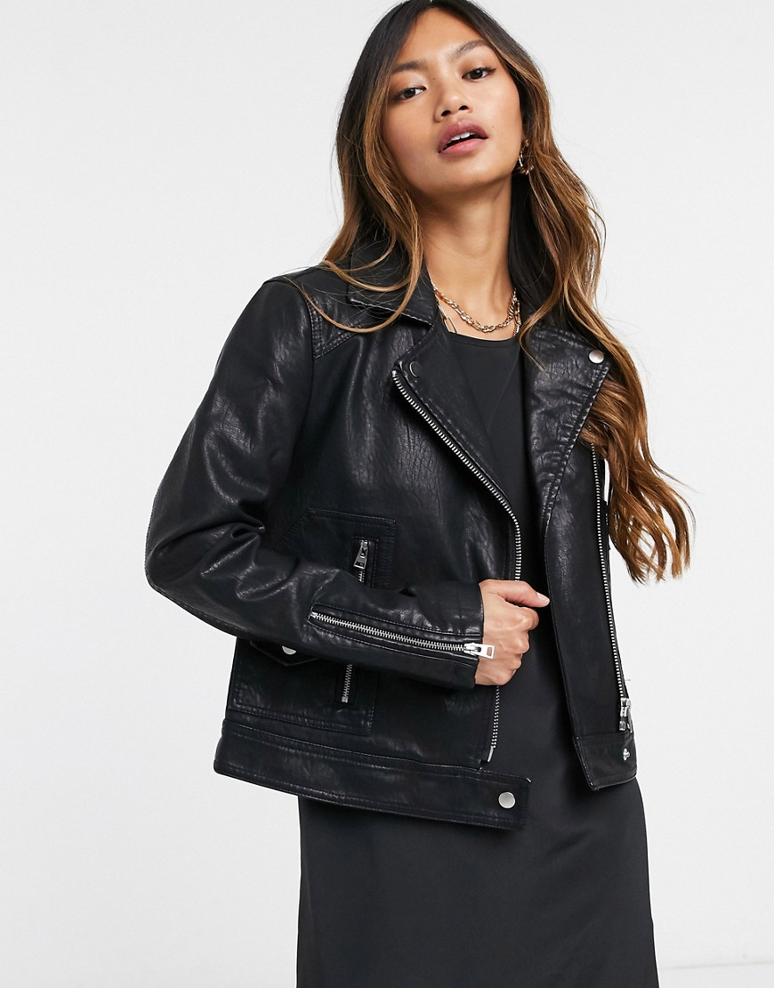 Topshop faux leather biker jacket in black-Brown