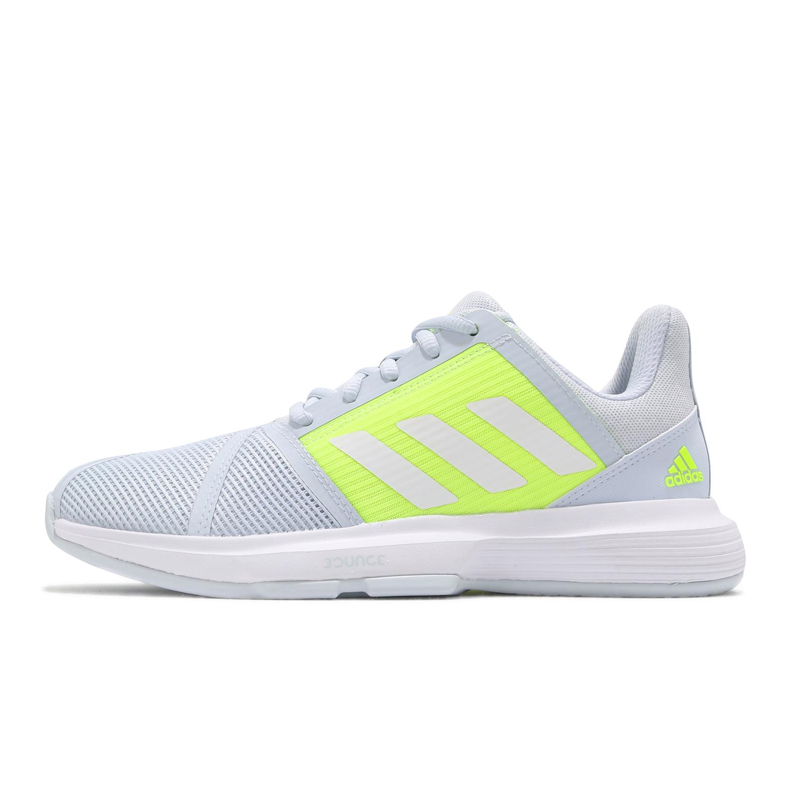 adidas 網球鞋 CourtJam Bounce W 灰 螢光黃 女鞋 運動鞋 愛迪達【ACS】 FX1524