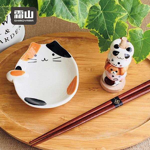 【日本霜山】貓咪造型陶瓷彩釉碟型鍋勺/湯勺架(火鍋漏勺 勺子 鍋杓 湯杓 置物架)