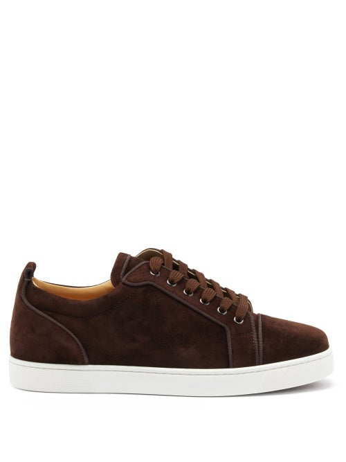 Christian Louboutin - Louis Junior Orlato Suede Trainers - Mens - Dark Brown