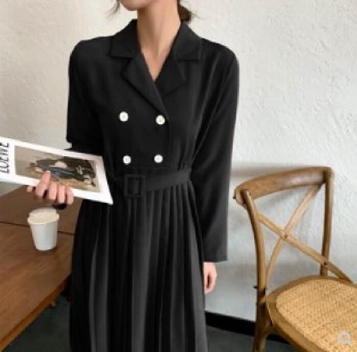 顯瘦西裝裙子領氣質長袖西服連衣裙