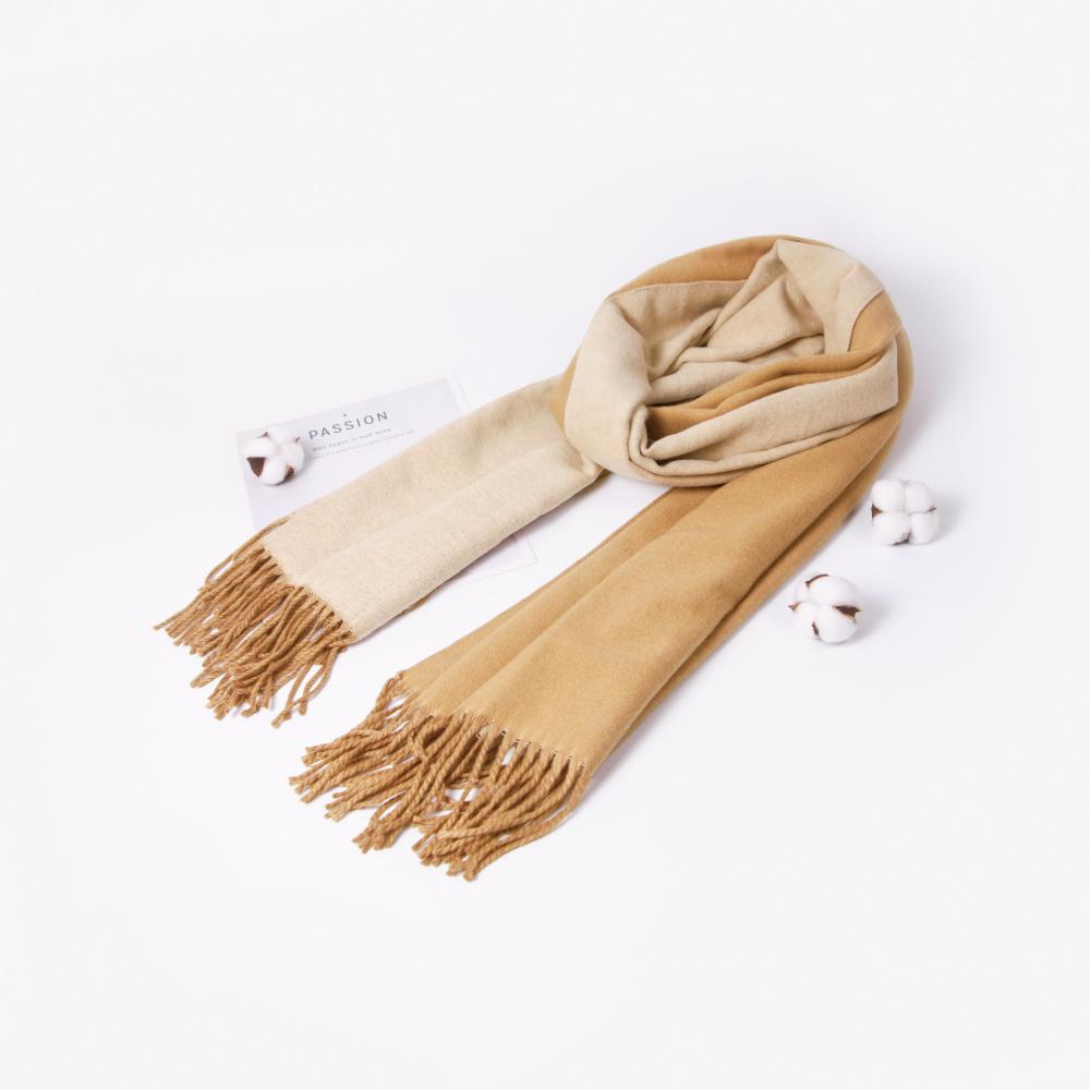 niceioi雙面配色針織流蘇圍巾