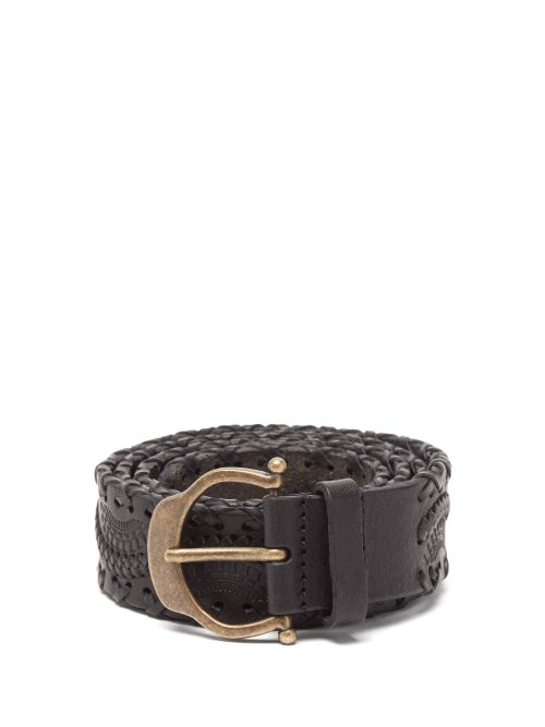 Saint Laurent - Horseshoe-buckle Whipstitched Woven-leather Belt - Mens - Black