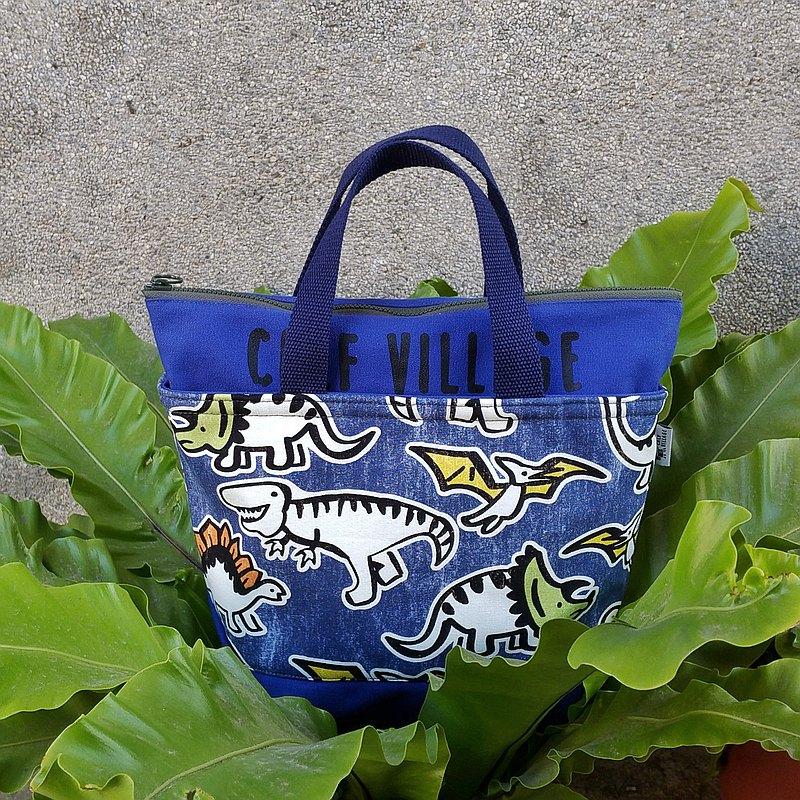 小牛村 手提袋 帆布包 便當袋 手提包【叢野恐龍記-靛藍】