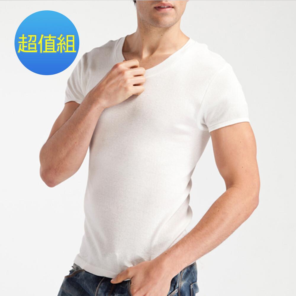morino摩力諾羅紋短袖v領衫(超值免運組)mo5201