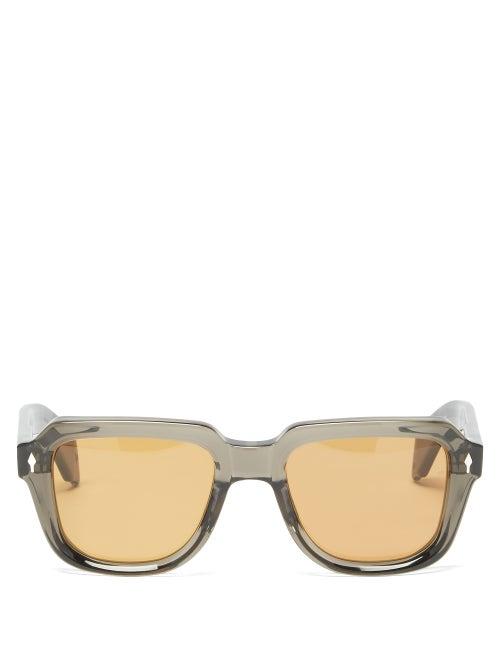 Jacques Marie Mage - Taos Square Acetate Sunglasses - Mens - Dark Brown