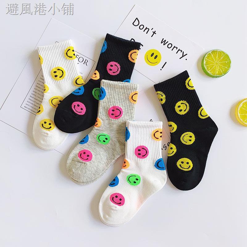 ✸♀❅兒童襪子春秋季韓版網紅笑臉1-15歲男女寶寶中大童學生中高筒潮襪