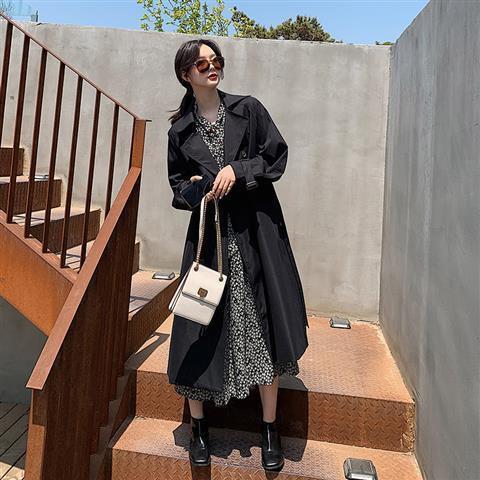黑暗系風衣女中長款2020新款春秋高端氣質今年流行小個子大衣外套
