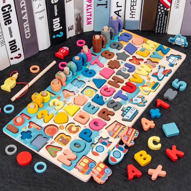 兒童益智玩具 字母積木 幼兒童數字拼圖男女孩寶寶早教益智力動腦一3歲多功能積木玩具