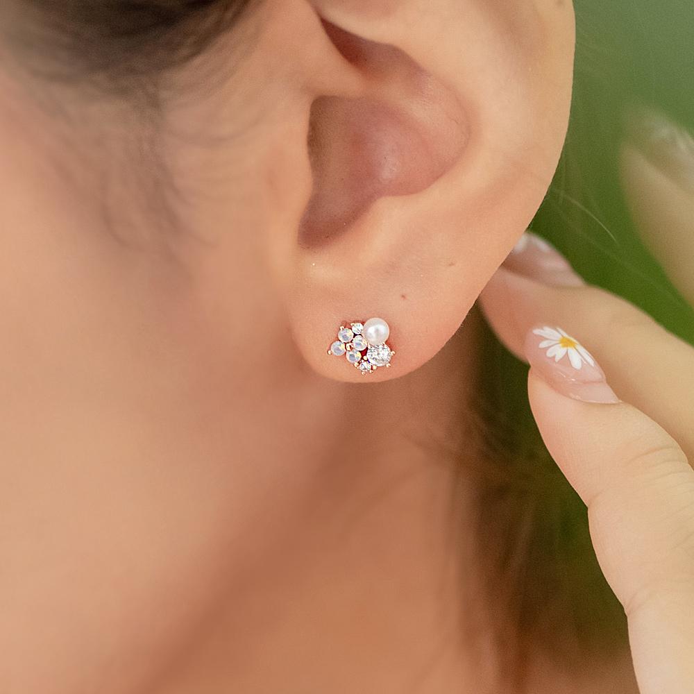 小珍珠晶透花兒925銀針耳環-A10307
