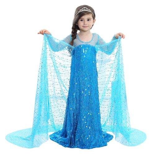 冰雪奇緣2公主ELSA連身裙 長裙 洋裝 皇冠 魔法棒 3件/組