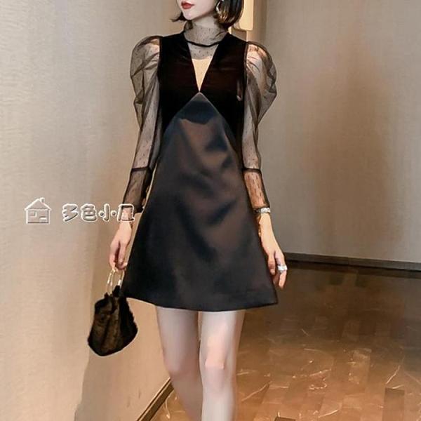 小禮服氣場宴會黑色小禮服秋裝新款設計感蕾絲性感連身裙顯瘦小黑裙子女 快速出貨