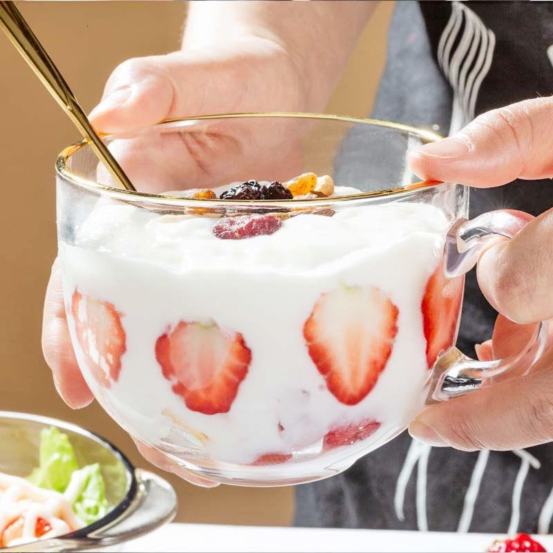 【現貨】【批發價】大容量金邊網紅玻璃杯子女牛奶玻璃早餐杯家用耐熱燕麥酸奶杯帶蓋